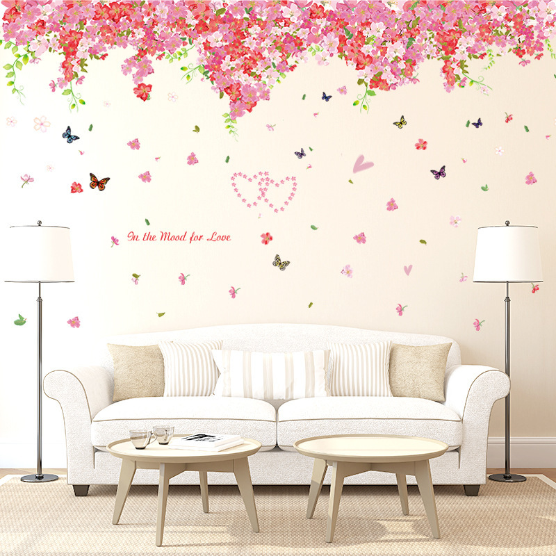 Purple Romantic Big Flower Wall Stickers Home Decor: Large Beautiful Cherry Blossom Wall Stickers Decals Red