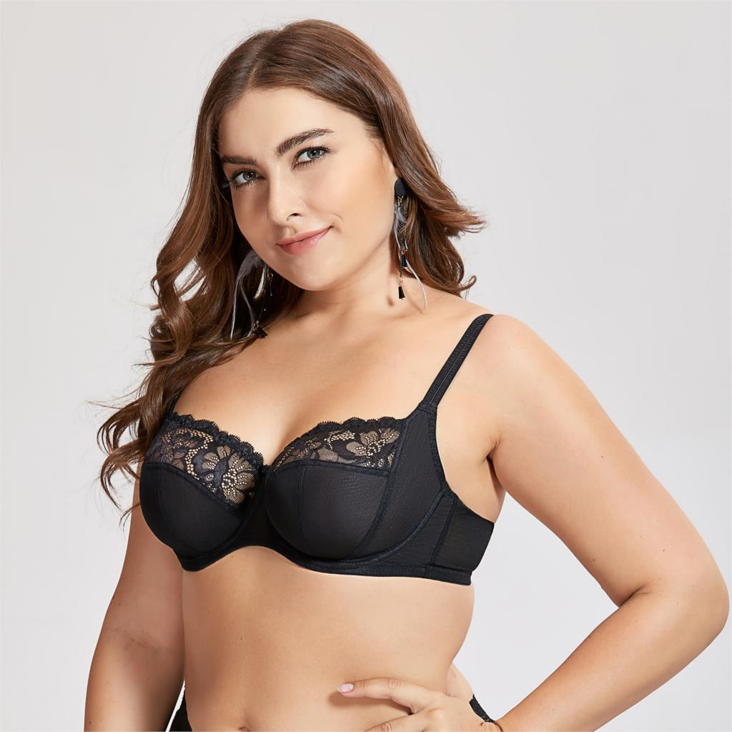 a8692d4eec Women s Non Padded Floral Lace Underwire Balconette Bra Plus Size-in ...