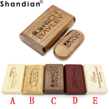 SHANDIAN PAY (OVER 10 PCS free LOGO) wooden usb + box usb flash drive pendrive 4gb 8gb 16gb 32gb memory stick photography gifts