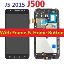 For Samsung Galaxy J5 2015 J500F J500F/DS J500H/DS J500FN J500M LCD Display Touch Screen Digitizer Sensor with Frame Home Button