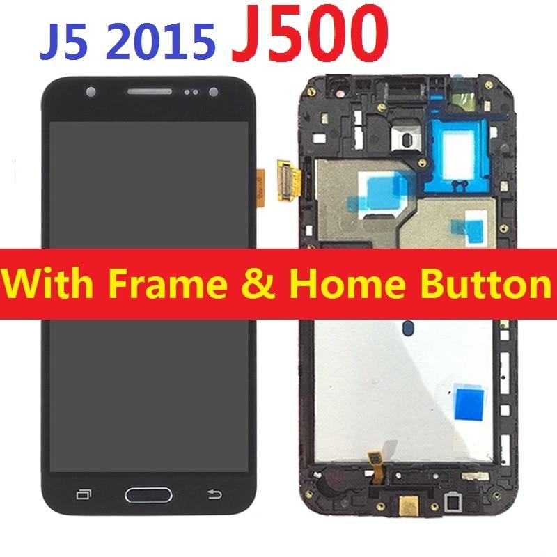 Para Samsung Galaxy J5 2015 J500F J500F/DS J500H/DS J500FN J500M pantalla LCD pantalla táctil digitizador Sensor con el botón del hogar del marco