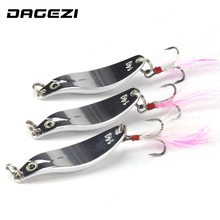 DAGEZI geometry Metal Sequins Fishing Lure Spoon Lure with Feather Noise Paillette Hard Baits Treble Hook Pesca Fishing Tackle