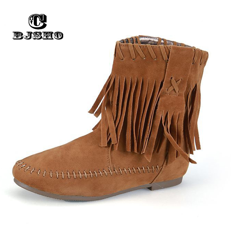 CBJSHO New Arrival Large Size Autumn Winter Women Tassel Boots Warm Shoes Female Flat Ankle Boots Girl Student Boots inc new polished coral pink women s size large l keyhole tassel blouse $39 010