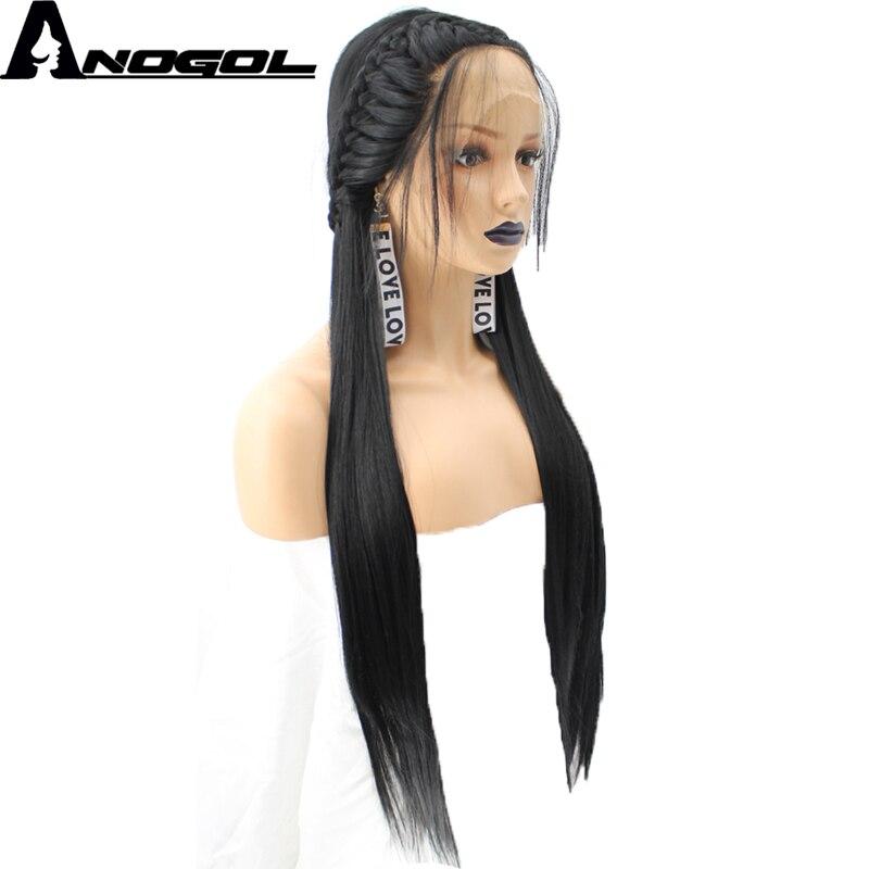 Anogol Haute Température Fiber Tresses Naturel Longue Ligne Droite Tressé Princesse 1B Noir Synthétique Avant de Lacet Perruque Avec Des Cheveux de Bébé