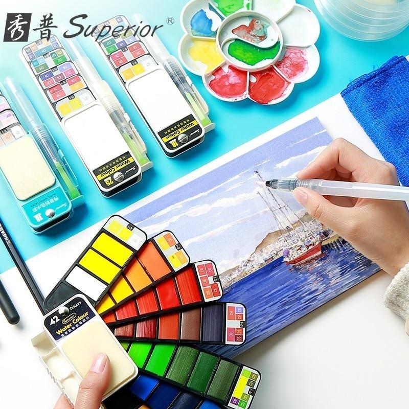 Dropshipping Überlegene 18/25/33/42 Farben Solide Aquarell Malen Set Mit Wasser Pinsel Stift Aquarell Pigment für Draw Kunst Liefert