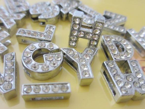 520 pz a ~ z 8mm o 10mm strass completa slide lettera az fascini diy misura 8mm braccialetti della cinghia-in Chiusure e componenti per gioielli da Gioielli e accessori su  Gruppo 1