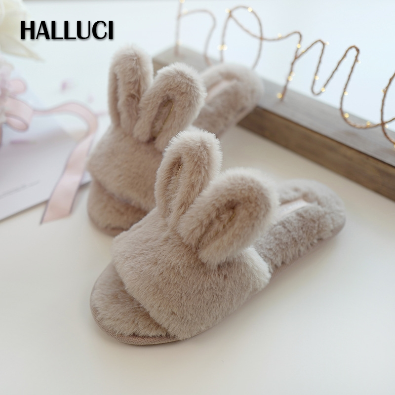 Cute rabbit Furry peep toe home slippers shoes women indoor Sandals winter warm fur Slip On shoes slippers flip flops loafersCute rabbit Furry peep toe home slippers shoes women indoor Sandals winter warm fur Slip On shoes slippers flip flops loafers