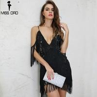 MISS ORD 2019 Sexy V Neck Off Shoulder Summer Dresses Harness Tassel Backless Short Dress Black Color Beach Mini Dress FT8405 1