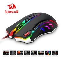 Redragon USB wired RGB Gaming Mouse 24000DPI 10 buttons laser programmable game mice LED backlight ergonomic for laptop computer