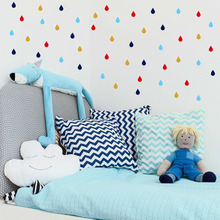 цена на Colorful Raindrop Vinyl Wall Stickers Removable Personalized Color Raindrop Wall Sticker For Children Room Hot Sale Sticker 712P