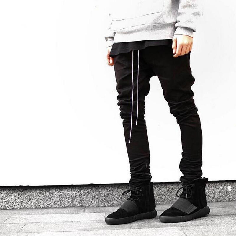 2017 fashion men jeans hiphop pants side zippers casual fear of god jogger pants Elastic Stretch trousers TC129 2017 new hiphop men hole jogger pants high quality casual destroyed skinny ruched jeans hole casual pants jogger rock jeans