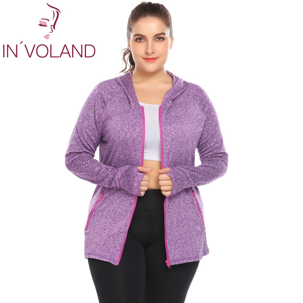 bab10ae1a7a IN VOLAND Plus Size Women s Hoodie Coat Workout Zip Up Slim Fit Mottled  Casual Lady Vigor Large Jacket Tops Plus Size XL 5XL-in Hoodies    Sweatshirts from ...