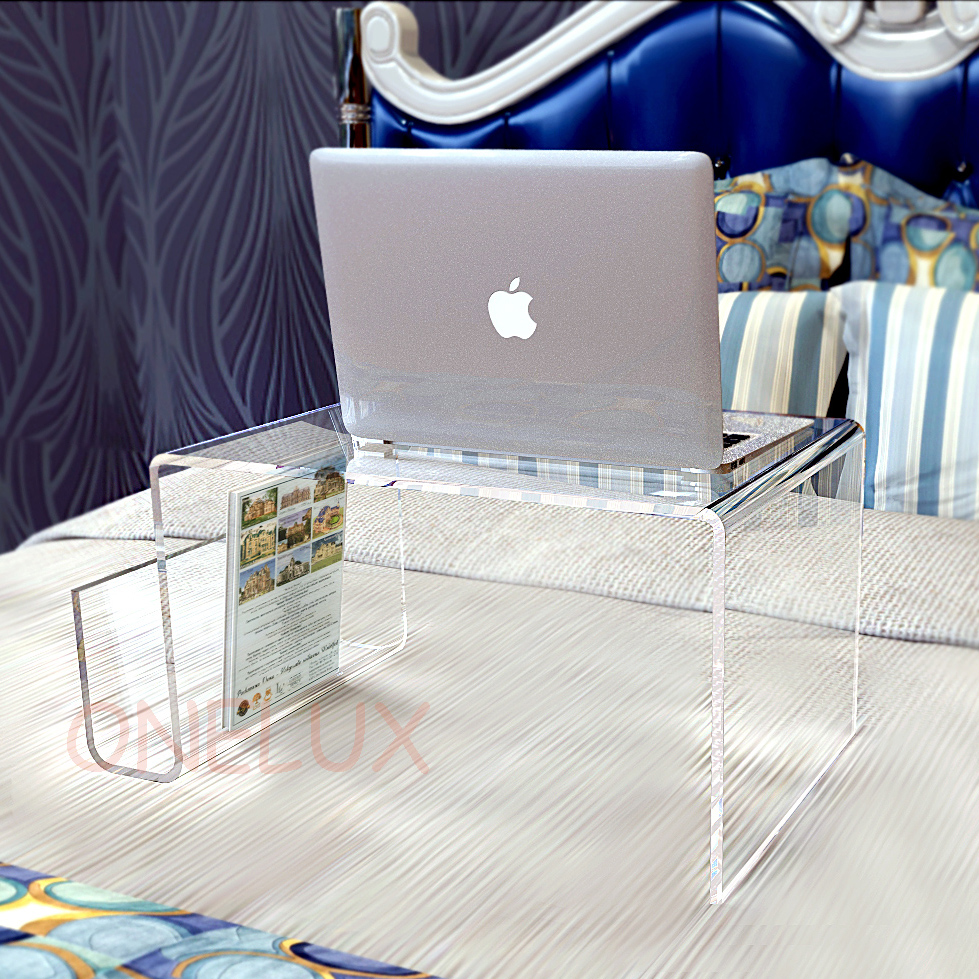 Waterall Lucite Bed Tray Table Acrylic Laptop Stand With Additional