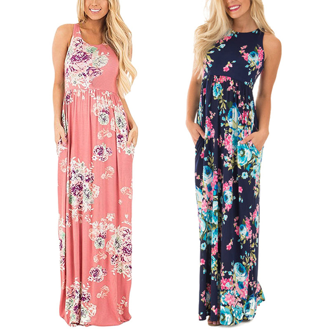 Clonop рукавов лето макси dress 2017 горячей продажи розовый синий повседневная партия длинные dress o-образным вырезом цветочные пляж лето dress vestidos