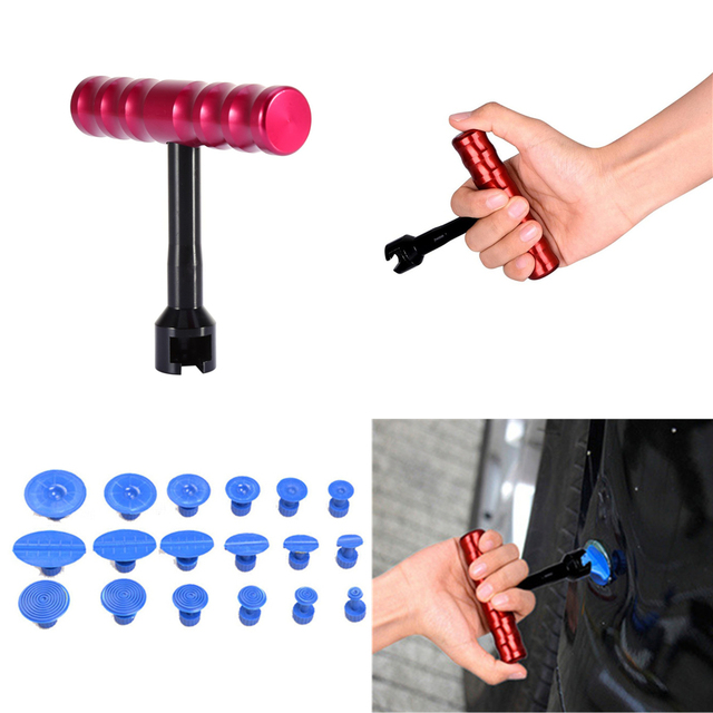 High quality PDR Tool T bar dent Panel Paintless Hail Repair Tool Dent Lifter Removal Tool 18pcs Puller Tabs for Car Body Repair