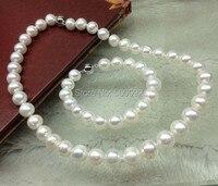 Genuine 10mm dintorni di round white pearl necklace & bracelet
