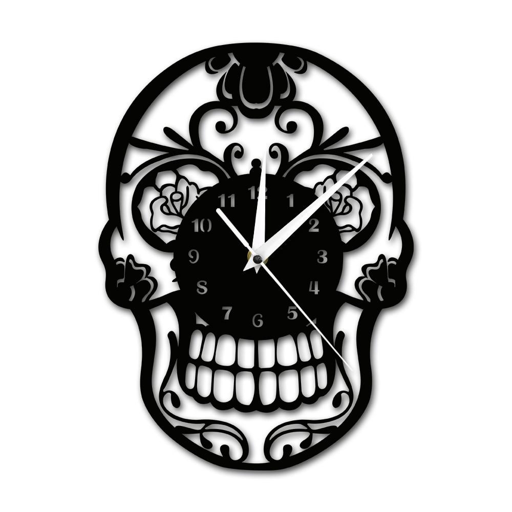 Jour de la Mort de Sucre Crâne Horloge Murale Mexicain Crâne Dia de Muertos Horloge Murale Floral Bonbons Crâne Décoratif Suspendu mur Montre