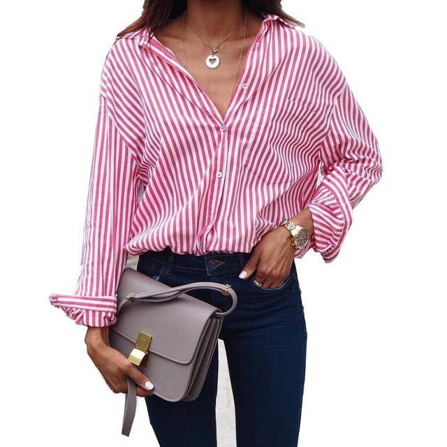 Women Striped Long Sleeve Plus Size Blouse