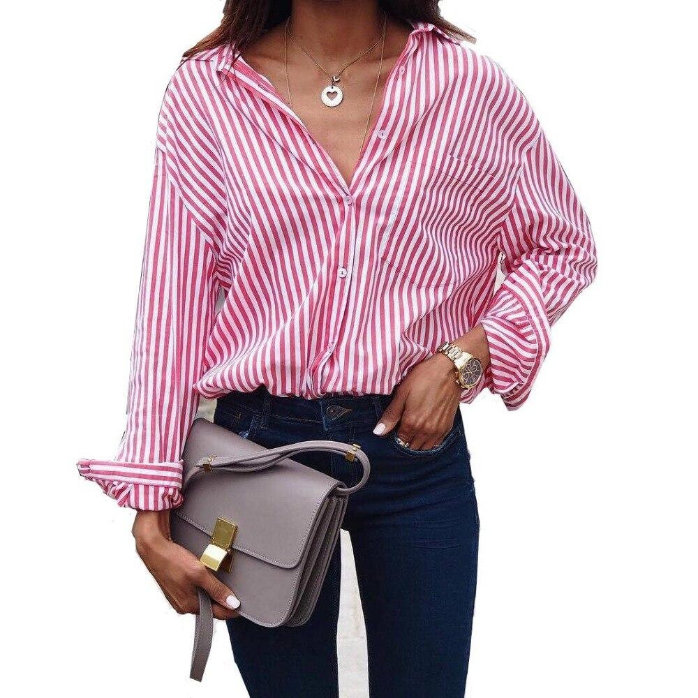 Femmes Rayé À Manches Longues Blouse Chemise Femelle Lâche Blusas Femme automne Automne Casual Dames Bureau Blouses Top Sexy Plus La Taille 5XL
