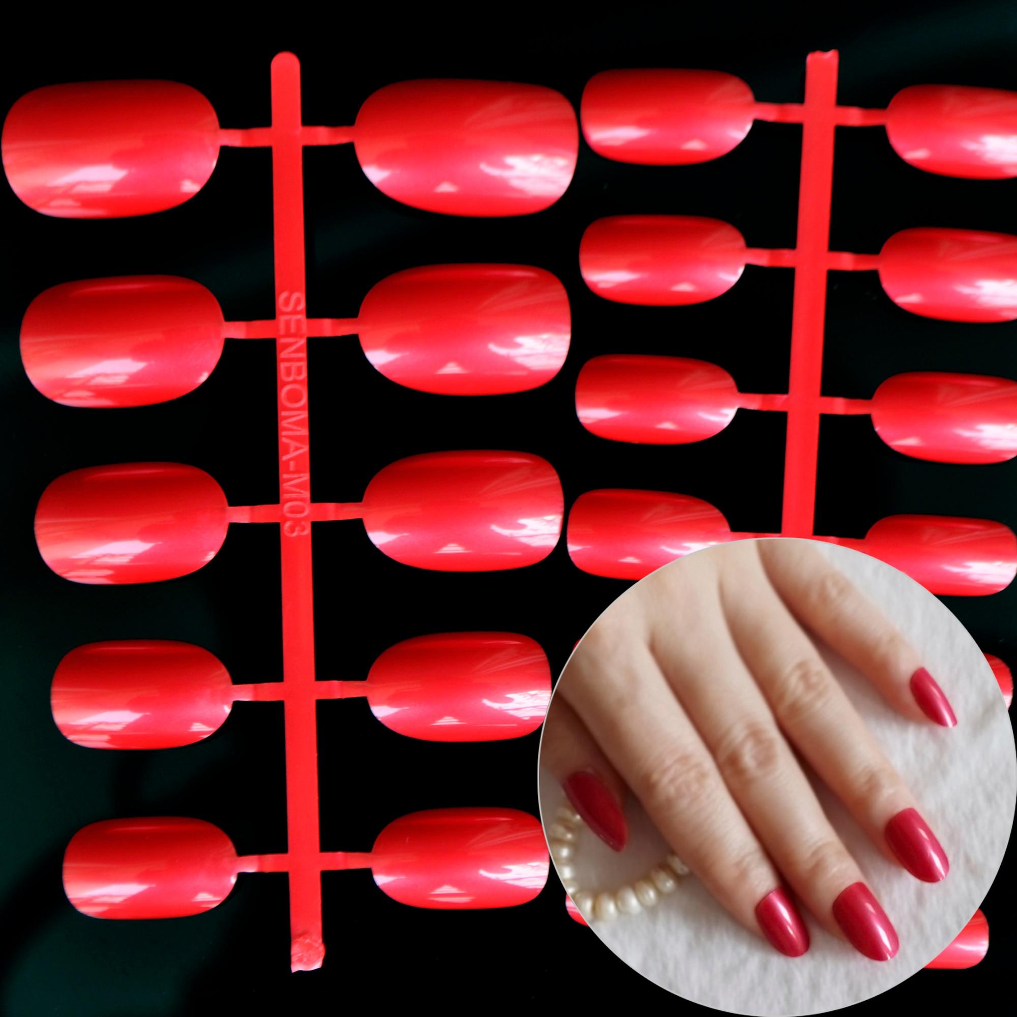 Acryl Falsche Oval Nägel Braut Rose Rot Nagel Fingernägel Full Wrap ...
