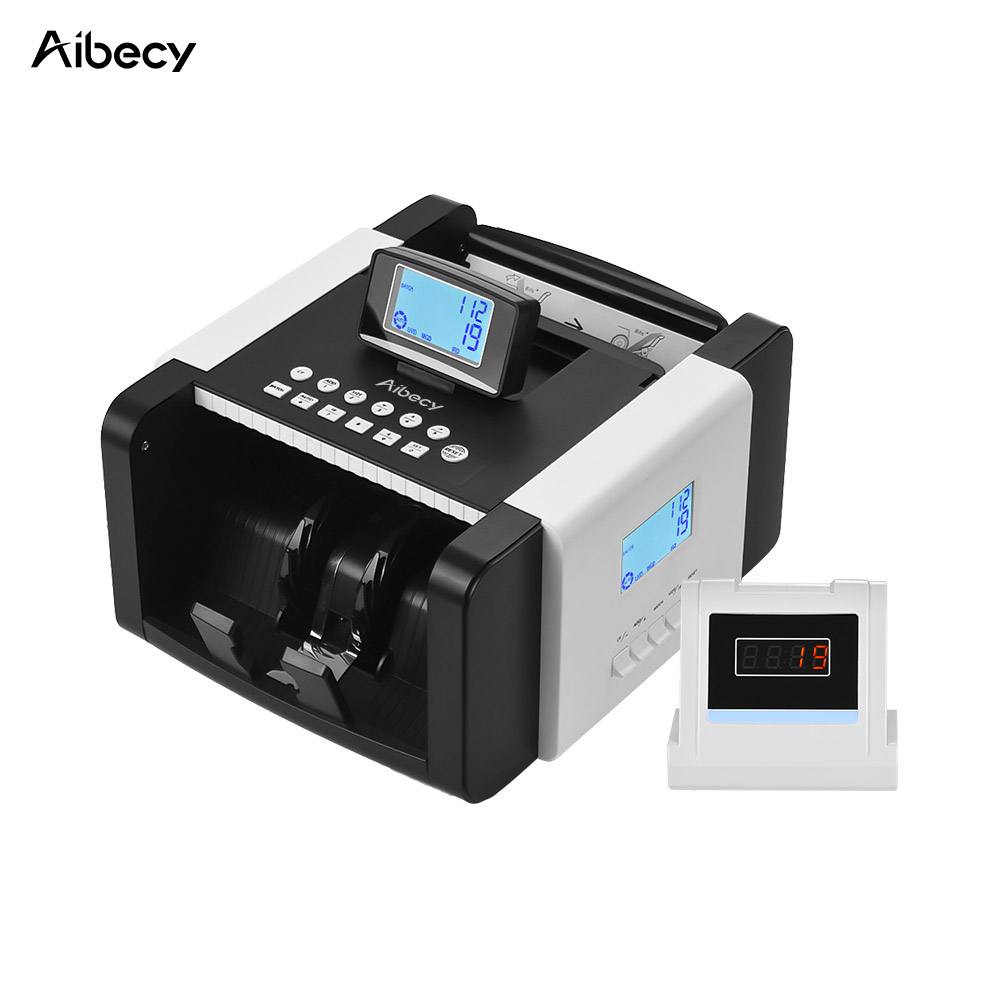 Aibecy Dual LED Display Multi-currency Banknote Counter Money Cash Bill Counting Machine UV/MG/MT/IR/DD Counterfeit Detection