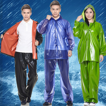 Sale Adults Split Clear Raincoat Set Pvc Plastic Rain Coat