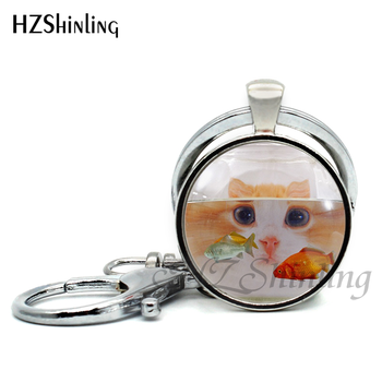 2017 New Fashion Fish Keychains Handmade Glass Dome Goldfish Bowl Keyring Art Photo Pendant Jewelry Key Chain for Women 1