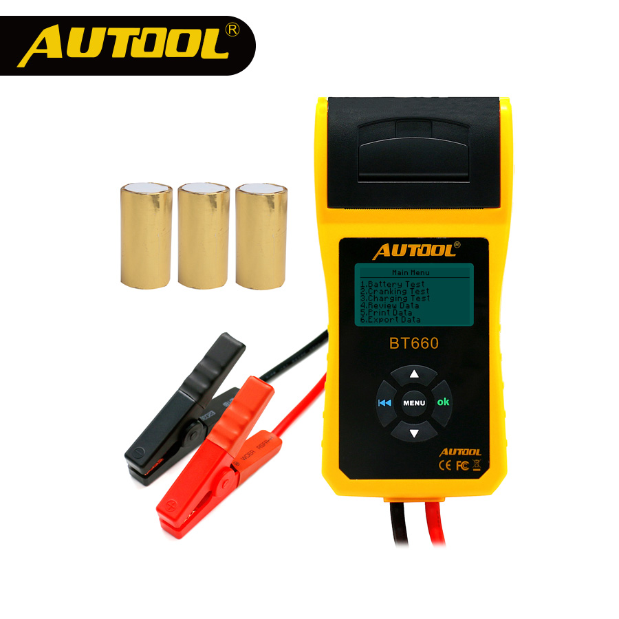 AUTOOL Car Battery Tester Analyzer With Printer 12V Digital Repair Workshop Auto Battery CCA Portable Diagnosis