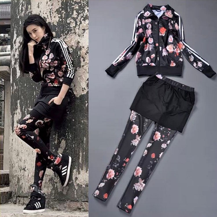 2016 spring and autumn women s leisure fashion flowers movement three piece suit casual female suit
