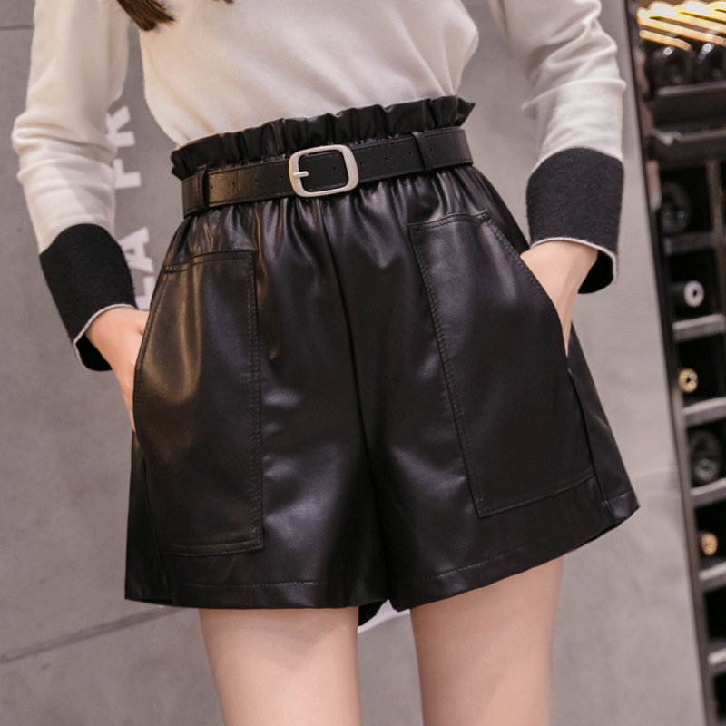 PU Leather Wide-legged Shorts Autumn Winter Women Fashion High Waist PU Ruffled Shorts Girls A-line Faux Leather Shorts Bottoms