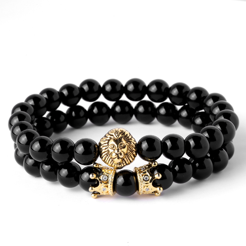 Mcllroy Natural & OXY Stone Beads Pave CZ Crowns Men Women Jewelry Animal Charm Bracelet Lion Head with Crown Bracelet