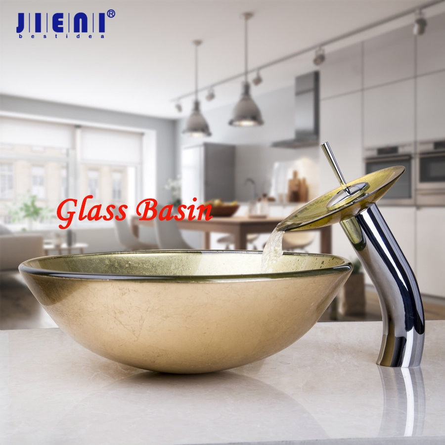 Yellow Bathroom Glass Lavatory Vessel Vanity Sink Faucet Set with Free Pop Up Drain Bathroom Basin Mixer Tap Set