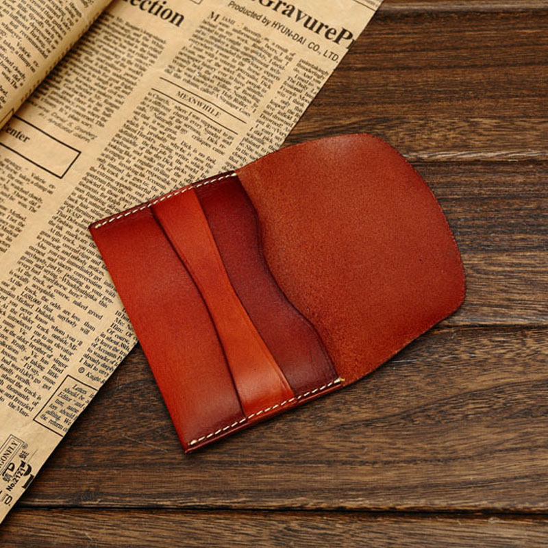 Classic Style Vegetable Tanned Leather Business Card Wallet ...