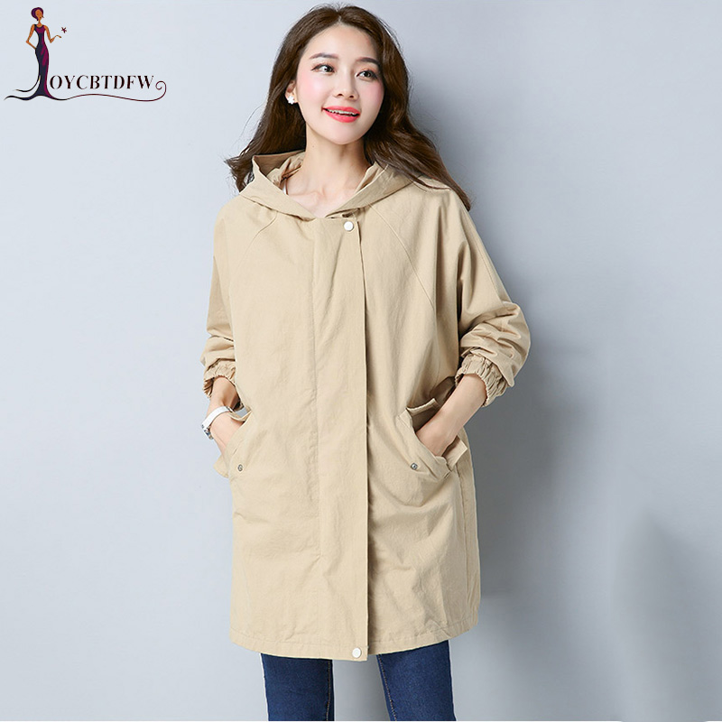 Large size Harajuku Autumn Trench Coat Women 2018 New Fashion Pure Color Loose Leisure Long-sleeved Women Coat Windbreaker NO258