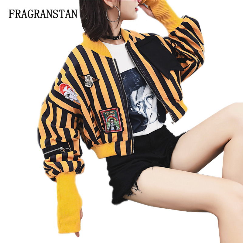 Harajuku Cartoon Pattern Embroidery Patch Designs Printed Striped Coat Spring Autumn Women New Fashion Street Style Jacket JQ325-in Jackets from Women's Clothing    1
