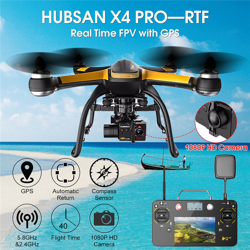 Hubsan X4 Pro H109S High & Standard Edition 5.8G FPV Drone With 1080P HD Camera 1 / 3 Three Axle Gimbal GPS RC Quadcopter RTF original yuneec typhoon h 480 pro drone with camera hd 4k rc quadcopter rtf 3 axis 360 gimbal vs dji inspire 2 mavic pro