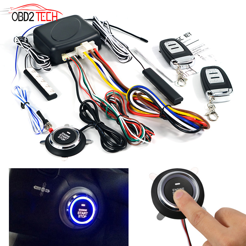 Universal PKE Car Alarm System With Engine Start / Stop Push Button Car One Start Stop With Remote Control Anti-theft Device