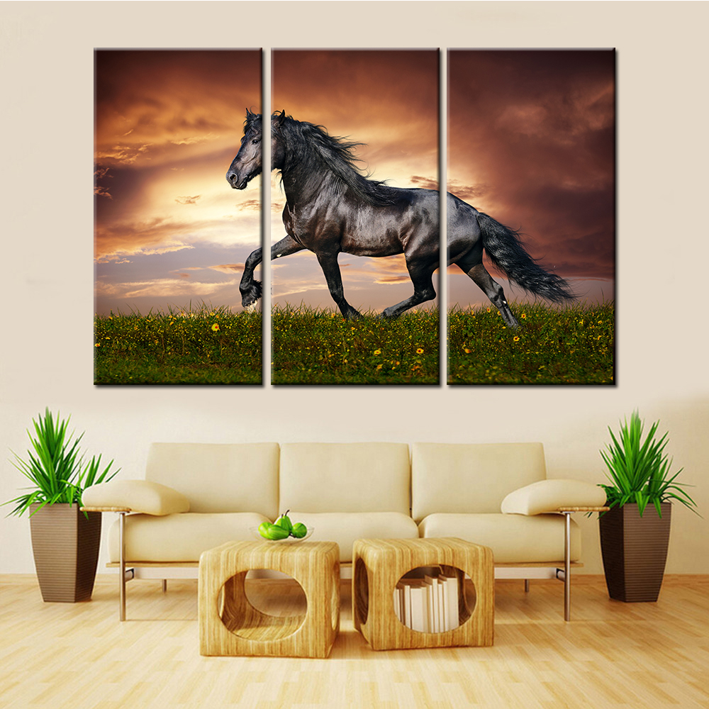popular running wall buy cheap running wall lots from china drop shipping unframed 3 pieces nordic canvas wall art animal running horse decorative picture for living