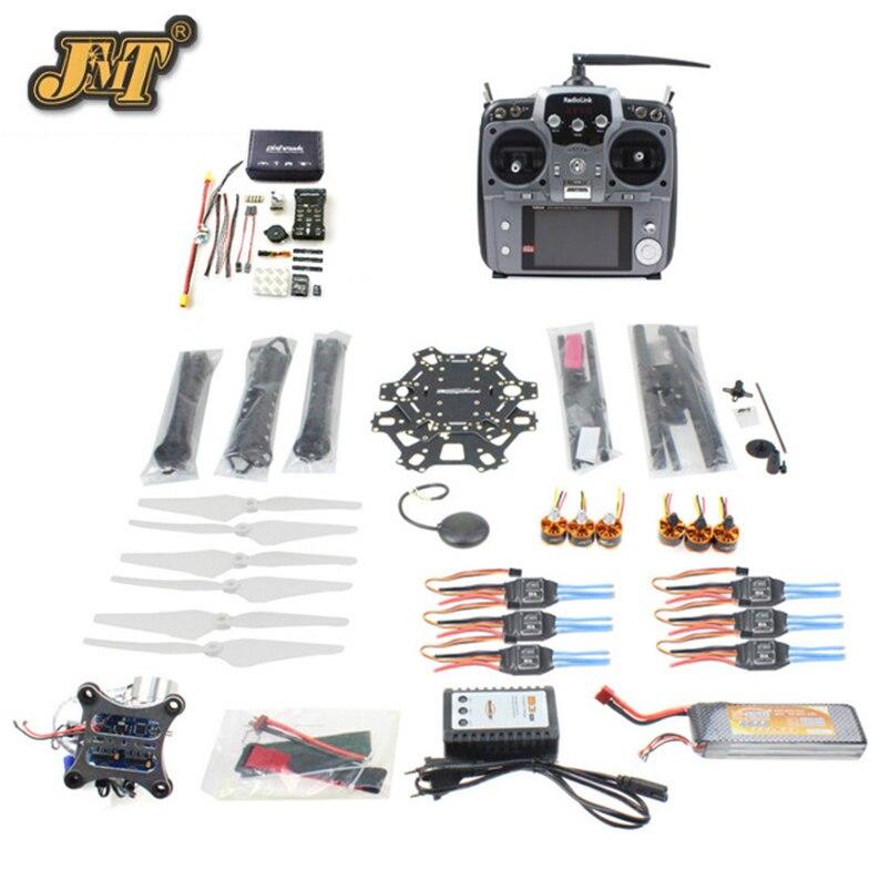JMT DIY FPV Drone 6-axle Hexacopter Kit HMF S550 Frame PXI PX4 Flight Control 920KV Motor GPS Gimbal AT10 Transmitter rtf full kit hmf y600 tricopter 3 axis copter hexacopter apm2 8 gps drone with motor esc at10 tx