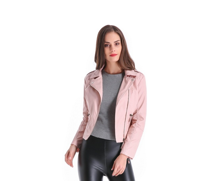 2018 Yeni Moda Kısın Yaka Kadın Deri Ceketler Ince PU Deri Motor - Bayan Giyimi - Fotoğraf 2