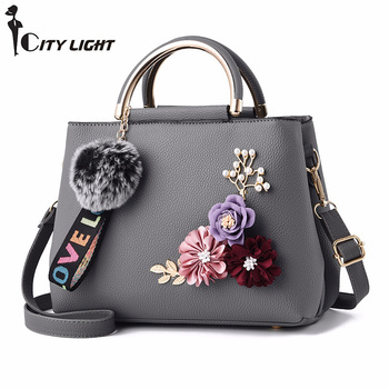 Stereoscopic flowers shell Women's tote Leather Clutch Bag Ladies Handbags Brand Women Messenger Bags Sac A Main Femme