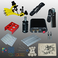 Complete Tattoo kits tattoo guns machine black tattoo machine power supply disposable needle free shipping