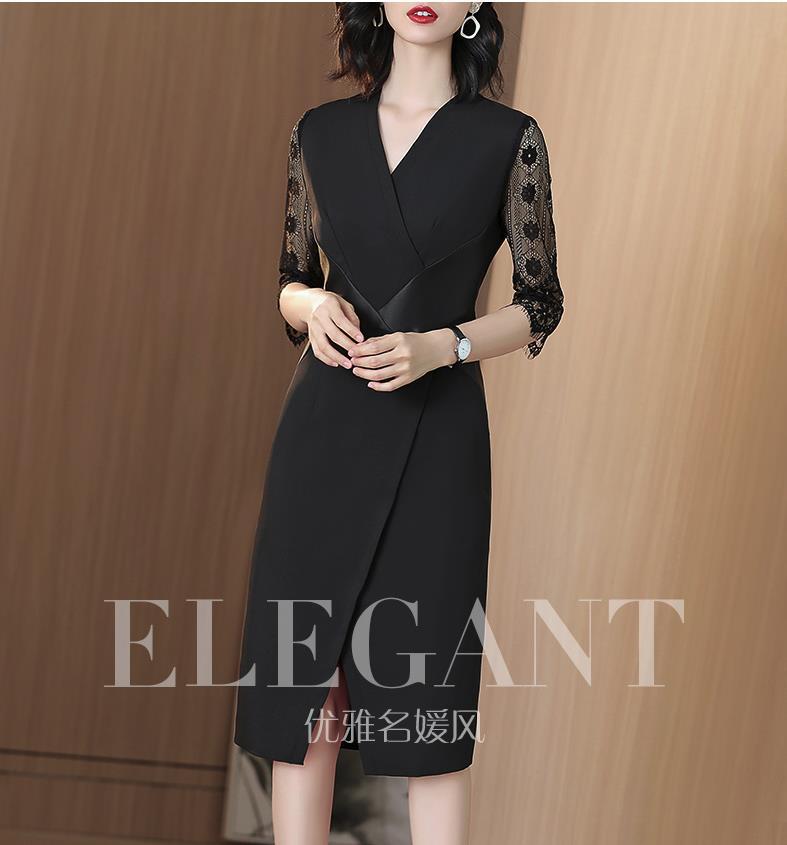 Col en v robe noire dans un long 2019 nouveau style d'été dentelle patchwork one-step robe