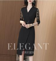 V neck black dress in a long 2019 new summer style lace patchwork one step dress