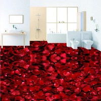 Free Shipping Custom HD red rose petals romantic 3D stereo flooring stickers mural bedroom hotel bathroom Floor wallpaper