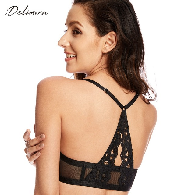 835975bda5 Women s Sexy Floral Lace Hollow out Front Closure Padded Push Up Underwire  Bra