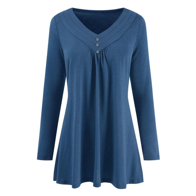 1e10ceef415 Plus Size Tops T Shirt Long Sleeves Solid Oversize Tunic Tee Baise Vintage  Deep V Neck Top Big Size Autumn Women Top 2018