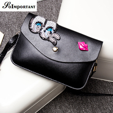 High Class PU Leather Cover Women Bags Women Cartoon Eyes Lip Pattern Messenger Bags 2016 Female Solid Mini Phone Cards Bags