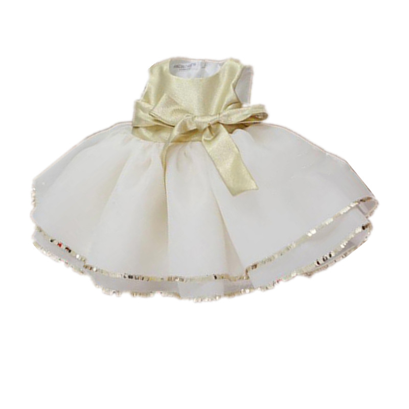 BBWOWLIN Baby Clothes Girls Dresses for 1 Year Birthday Party Wedding Gold Bow Princess Dress Roupas Infantis Menina 8062 t050 3w mini portable retractable stereo speaker w tf black golden 16gb max