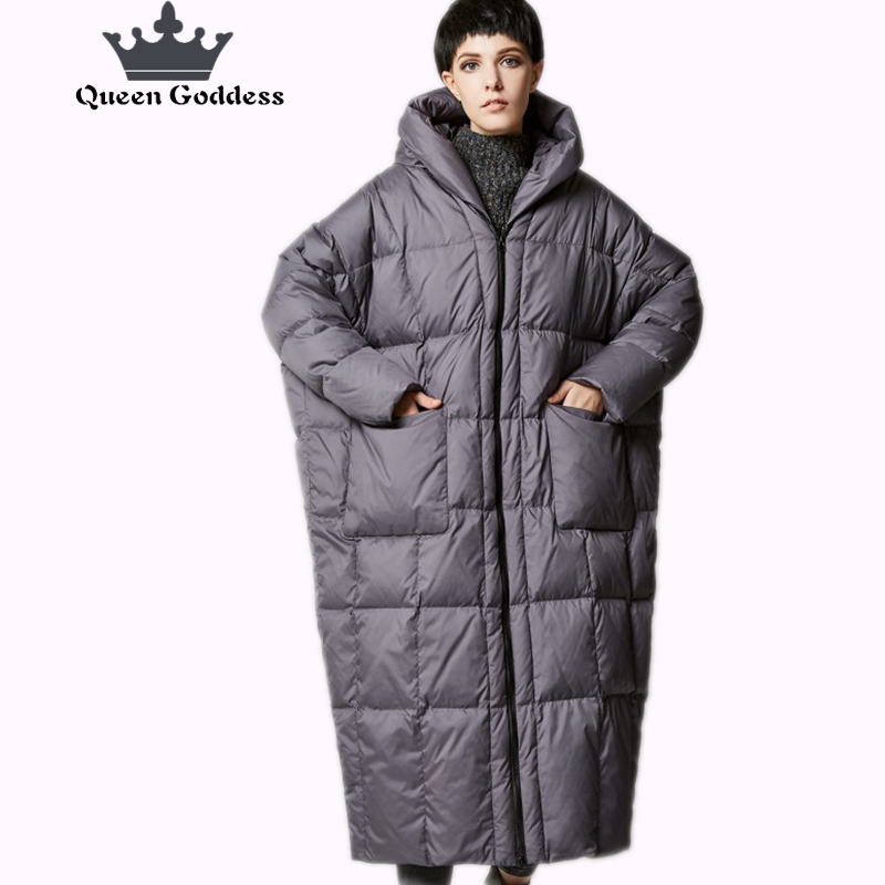 New Arrival Winter 2017 women casual loose cocoon coat thick long hooded duck down jacket warm